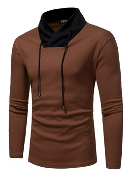 Mosaic Stand Collar Solid Color Long Sleeve Slim Mens Tee