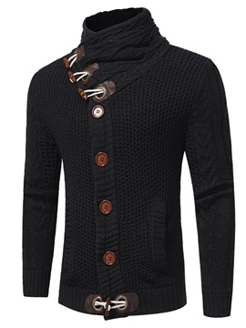 Stand Collar Single Breasted Trendy Solid Color Slim Warm Mens Sweater