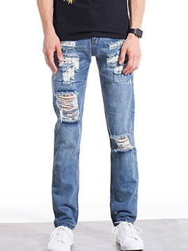 Holes Straight Slim Denim Mid Waist Mens Jean