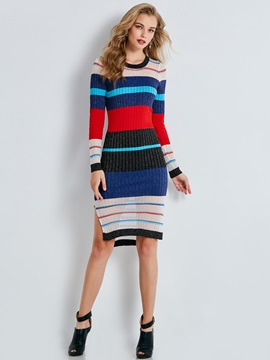 Slash Neck Single Breasted Womens Sweater Dress
