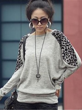 Leopard Long Sleeve Round Neck Womens Blouse