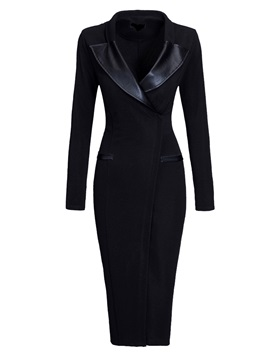 Polyester V Neck Long Sleeve Womens Sheath Dress