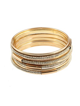 Multilayer Golden Polishing Alloy Large Circles Exotic Bracelets Bangles Sets