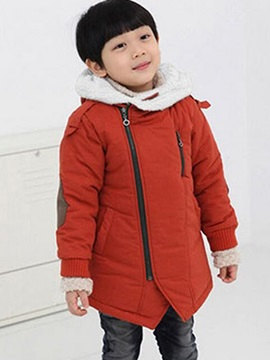 Thick Plain Hooded Zipper Boys Outerwear