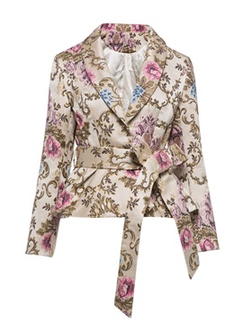 Shawl Collar Flower Print Womens Overcoat