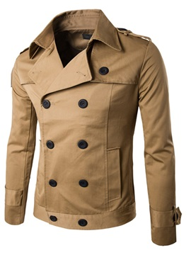 Lapel Double Breasted Solid Color Mens Short Coat
