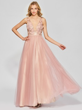 Attractive A Line Backless Appliques Sleeveless Floor Length Prom Dress