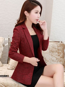 Long Sleeve One Button Pocket Womens Blazer