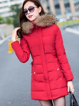 Long Sleeve Hooded Womens Overcoat