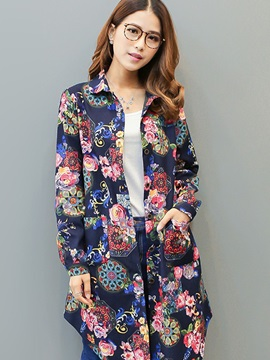 Long Sleeve Loose Lapel Print Womens Shirt