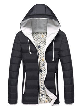 Solid Color Pleat Zipper Hooded Slim Warm Mens Winter Coat