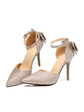Pu Bow Pointed Toe Stiletto Womens Pumps