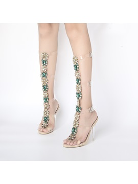 Hasp Rhinestone Color Block Floral Stiletto Gladiator Sandals