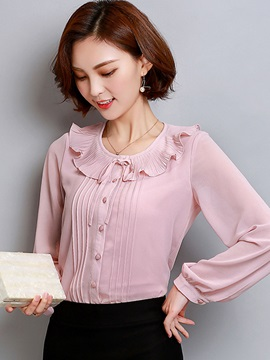 Ruffled Collar Pullover Womens Blouse