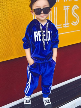Fashion Velvet Long Sleeve Hoodie And Pant Baby Boys Outfits