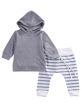 Pullover Hoodie And Stripe Pant 2 Pcs Baby Boys Outfits