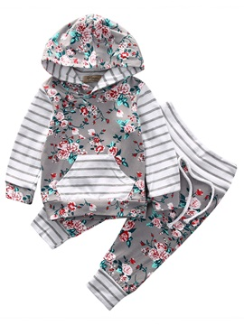 Floral Stripe Hoodiepants Baby Girls Outfit