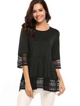 Three Quarter Sleeve Lace Womens Blouse