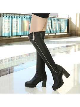 Pu Side Zipper Chunky Heel Womens Black Boots