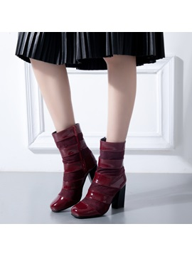 Pu Side Zipper Patchwork Plain Womens Boots