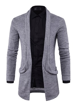 Cardigan Solid Color Medium Length Slim Lapel Mens Sweater