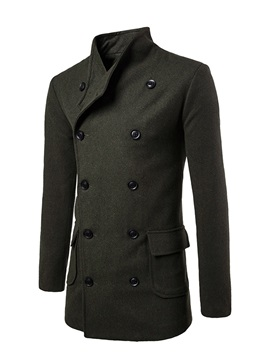 Double Breasted Lapel Length Fleece Solid Color Slim Mens Trench Coat