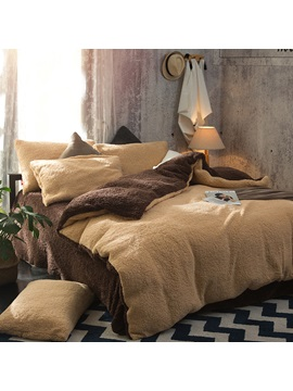 Wannaus Solid Camel And Coffee Reversible Polyester Faux Sherpa 4 Piece Bedding Sets Duvet Cover