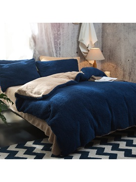 Wannaus Solid Navy Blue Camel Reversible Polyester Faux Sherpa 4 Piece Bedding Sets Duvet Cover