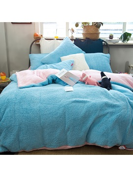 Wannaus Solid Sky Blue Pink Reversible Polyester Faux Sherpa 4 Piece Bedding Sets Duvet Cover