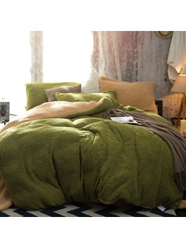 Wannaus Solid Green And Coffee Reversible Polyester Faux Sherpa 4 Piece Bedding Sets Duvet Cover