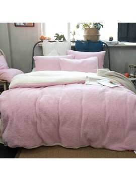 Wannaus Solid Pink And White Reversible Polyester Faux Sherpa 4 Piece Bedding Sets Duvet Cover