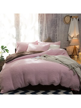 Wannaus Solid Pink And Coffee Reversible Polyester Faux Sherpa 4 Piece Bedding Sets Duvet Cover