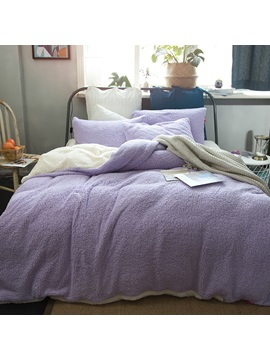 Wannaus Solid Violet And White Reversible Polyester Faux Sherpa 4 Piece Bedding Sets Duvet Cover