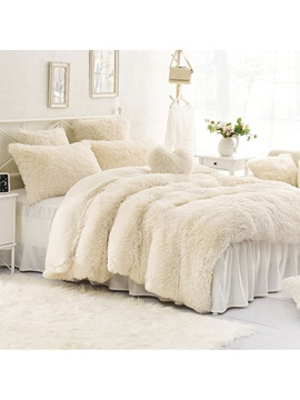 Wannaus Solid Creamy White Super Fluffy And Soft 4 Piece Bedding Sets Duvet Cover