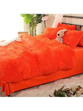 Wannaus Solid Bright Orange Super Soft Fluffy Plush 4 Piece Bedding Sets Duvet Cover