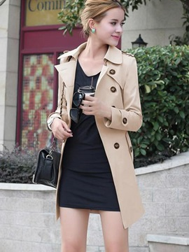 Plain Double Breasted Long Sleeve Mid Length Trench Coat