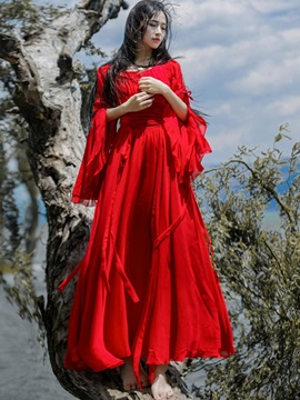 Red Long Sleeve Womens Dress