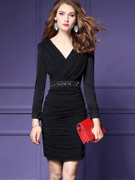 Chic Black Long Sleeve V Neck Bodycon Dress
