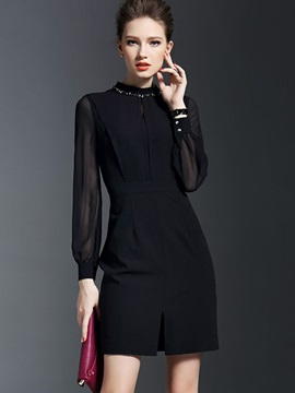 Classy Black Long Sleeve Bodycon Dress