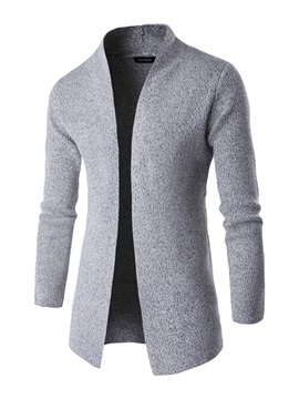 Cardigan Solid Color Stand Collar Jacquard Weave Slim Mens Trench Coat