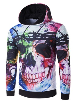 Pullover Skull Pattern Slim Long Sleeve Mens Hoodie