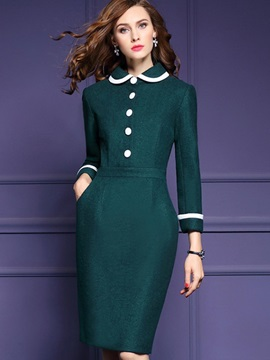 Vogue Multi Colored Long Sleeve Womens Bodycon Dress