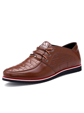 Pu Lace Up Purfle Low Cut Upper Dress Shoes For Men