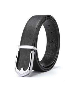Letters Buckle Alloy Cowhide Smooth Buckle Classical Mens Belts