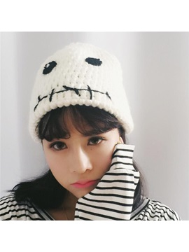 Lovely Grimace Pattern Dome Japanese Style Knitted Hat