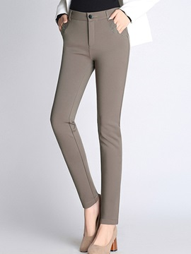 High Waist Full Length Slim Plain Bead Womens Fall Pants