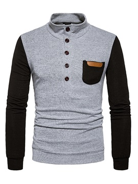 Stand Collar Color Block Patchwork Mens Pullover Sweater
