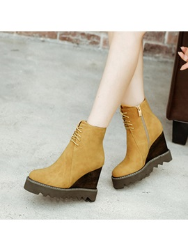 Faux Suede Cross Strap Color Block Womens Boots