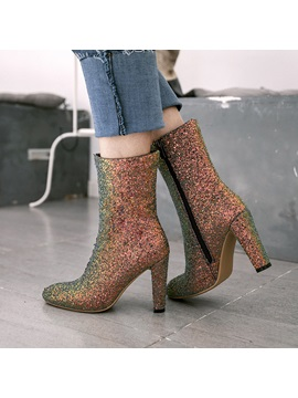 Glitter Sequin Side Zipper Block Heel Womens Boots