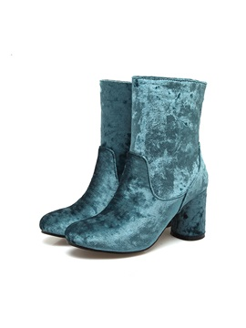 Faux Suede Slip On Chunky Heel Womens Chic Boots